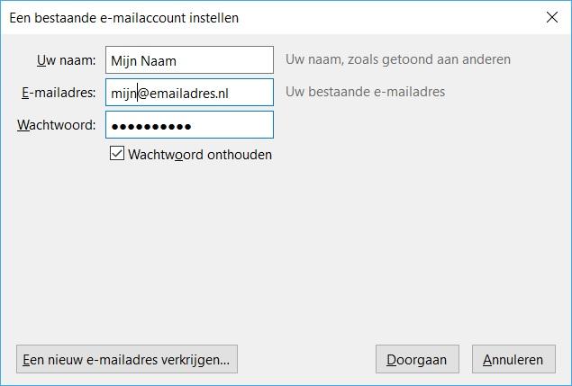 Thunderbird instellen voor gebruik met email